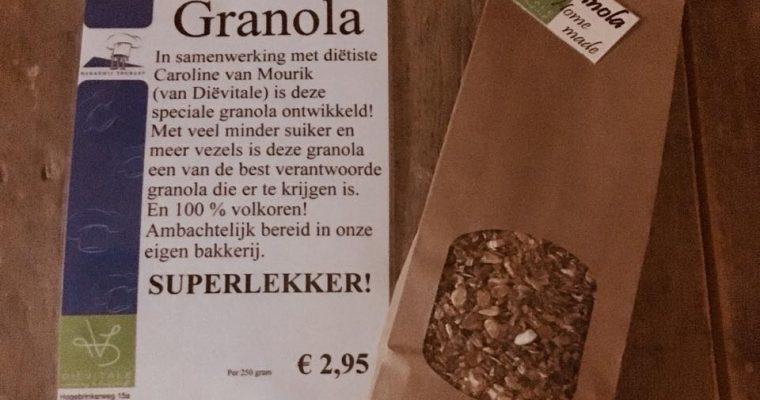 100% volkoren granola, een samenwerking tussen Bakkerij Toebast en DiëVitale